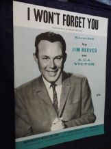 VINTAGE ORIGINAL SHEET MUSIC JIM REEVES I WON'T FORGET YOU BURLINGTON 1962